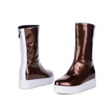 Otoño moda mujeres botas de cuero genuino Casual Mujer de invierno nieve botas Zapatos de plataforma Mujer mbt Zapatos Mujer(China (Mainland))