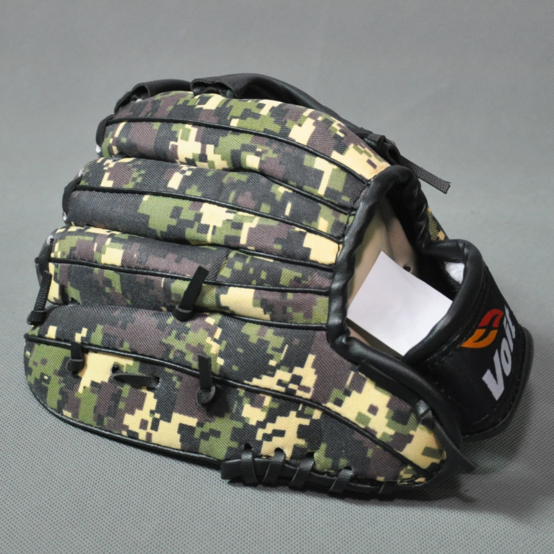 New 2015 Soft Eco PU Universal 9.5 Inch Youth Kids Baseball Gloves Camouflage Training Equipments t0329(China (Mainland))