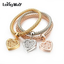3Pcs/Lot Ethnic Love Heart Charm Bracelets For Women Gold Silver Crystal Chain Bracelets & Bangles With Pendants SBR150160(China (Mainland))