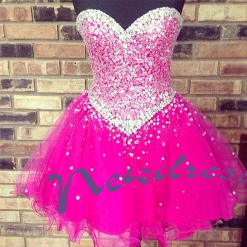 Hot pink sleeveless discount short prom dresses, cheap junior pretty ND120 - NewdressLisa store