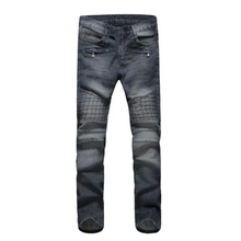 Wash Jeans Rushed Real Slim Low Cotton 2015 Moto Jeans Balmai Men Geometric Checkered Knee Pressed Punk Two-color Gray-blue For