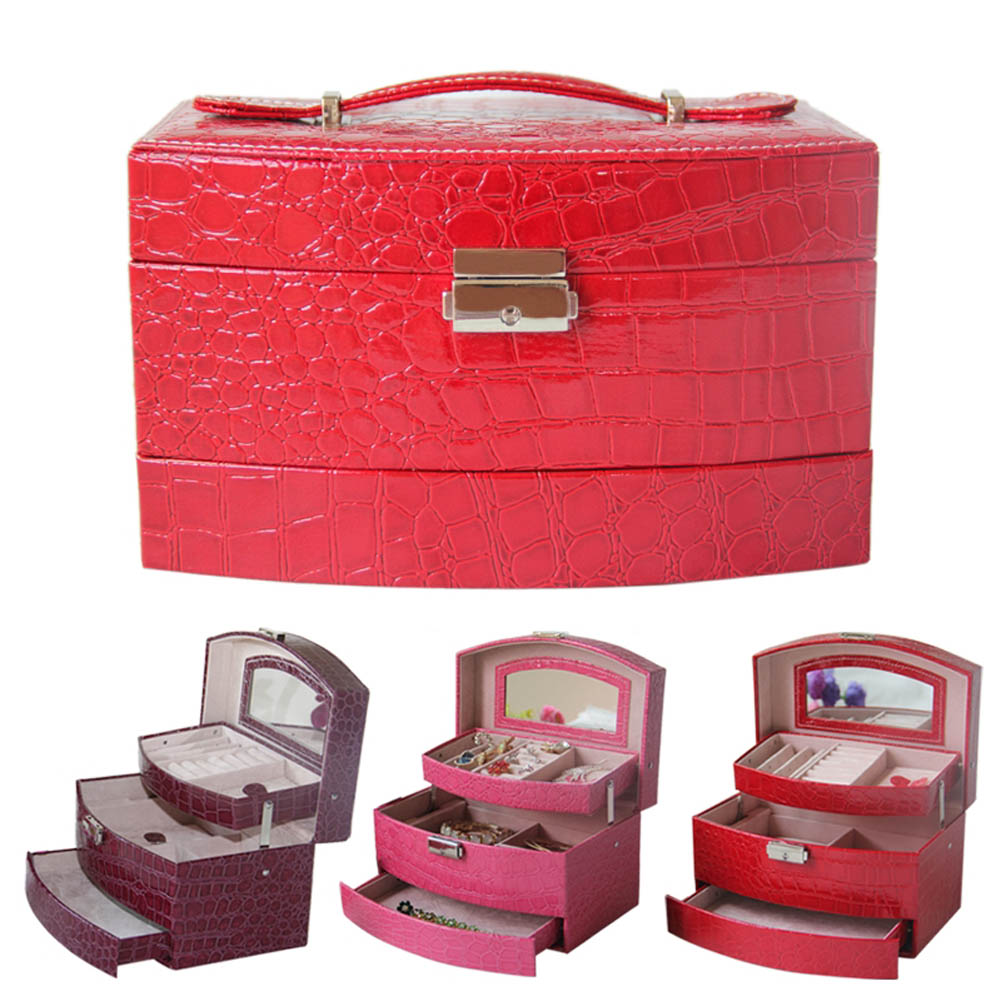 Automatic Pull out Drawers Jewelry Box Watch Case Jewelry Display Storage Organizer 3 color(China (Mainland))