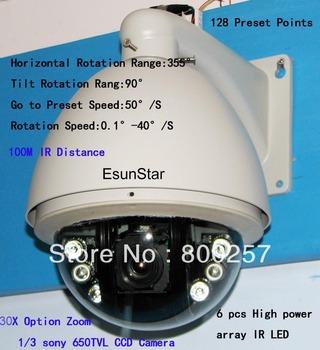 1/3 sony 650vl 30X Zoom 100M IR speed dome camera cctv camera+255 preset