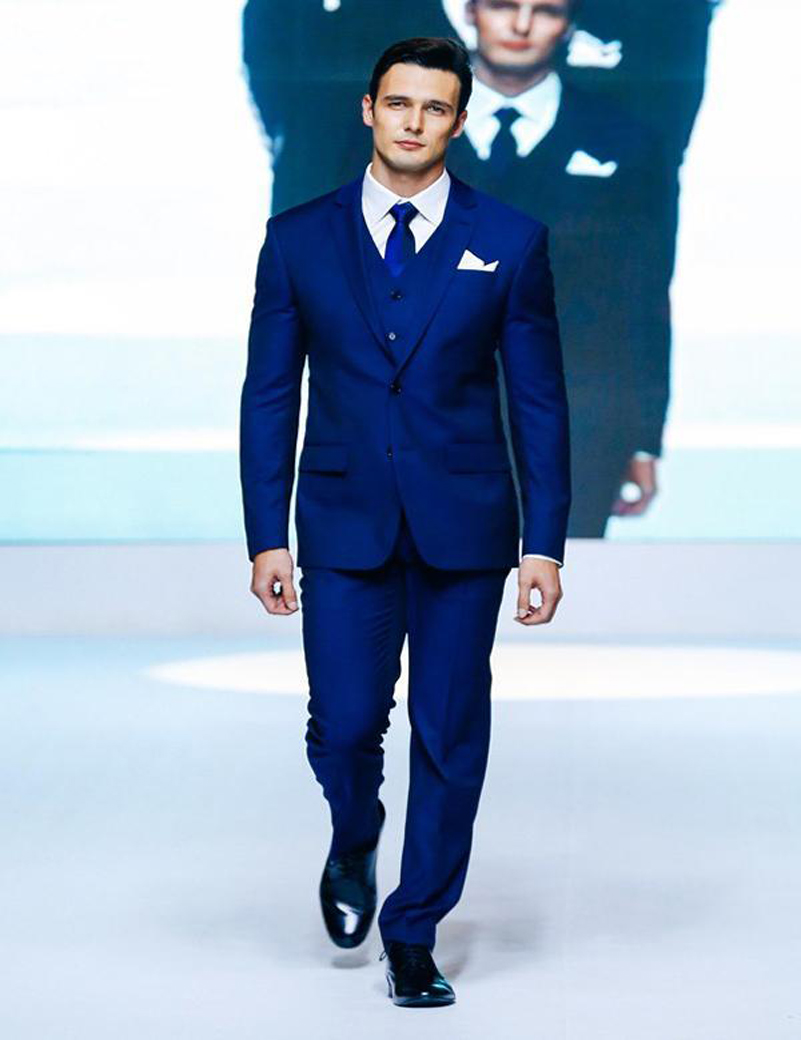 Slim Fit Men Suits Royal Blue Wedding Tuxedos Boys Suits Jacket+Pants+Tie+Vest Custom Made Groom Suits