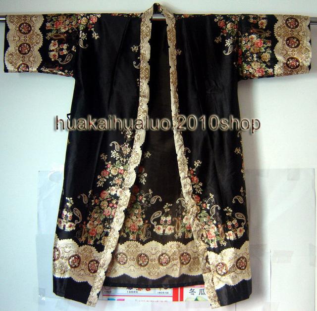 Бесплатная Доставка! Черный Китайских женщин Шелк Hand-Made Окрашенные Кафтан Одеяние ...