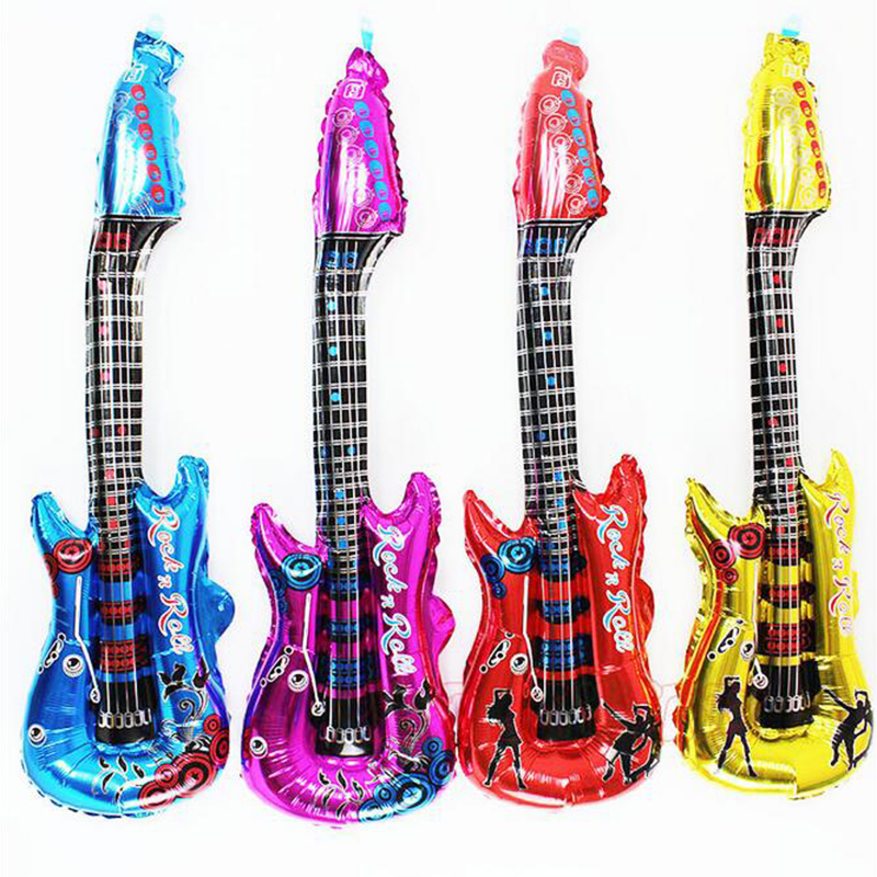 2016 NEW Inflatable Blow Up Rock Roll Guitar Party Musical Toy Wedding Birthday Night Party Favors Rock Star Bulk Gift 4Color(China (Mainland))