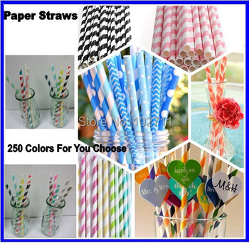 """330 Color  Assorted Designs of 7.75"""" Solid Colored Paper Straws in OPP Packaging (80 packs/2,000 pcs)"""