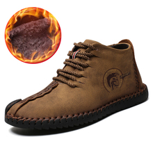 2018 新暖かい冬男性ブーツ高品質スプリットレザーカジュアル男性の靴ぬいぐるみ Fahsion ビッグサイズ 40 〜 48(China)