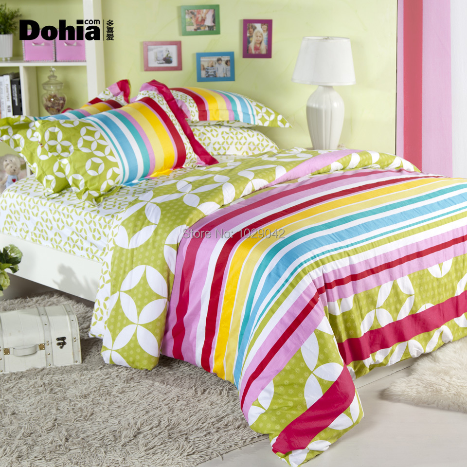colorful rainbow bedding, fashion simple children bed set ...