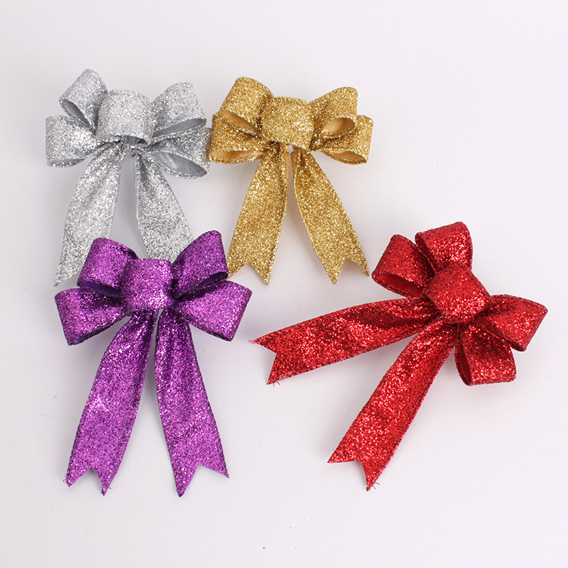 Wedding supplies Christmas decorations 13cm Gold / silver / red / purple Cloth bow Pendant party event supplies(China (Mainland))