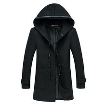 X-Long Men Woollen Trench Coat Jackets Hoodie Slim Fit Winter Fashion Brand Black Outdoor Warm Wool Overcoat Large Size M-XXXL(China (Mainland))