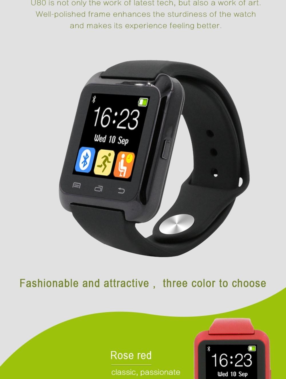 Bluetooth U8 Smartwatch U80 bluetooth 4.0 Wireless Smart Watch Wrist bracelet For Andriod iPhones Pedometer PK xiaomi mi band