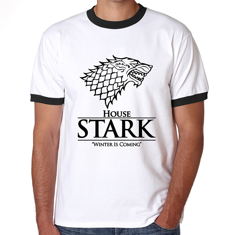 Winter is coming t shirt Men Short Sleeve Cool Tee Shirts Game of Thrones The House of Stark Winterfell Wolf t-shirts(China (Mainland))