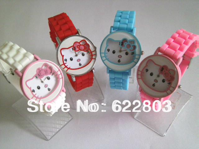 Cute Conciseness Designer Hello Kitty women Lady's children Quartz Wrist Watch jelly Silicone watches free shipping(China (Mainland))