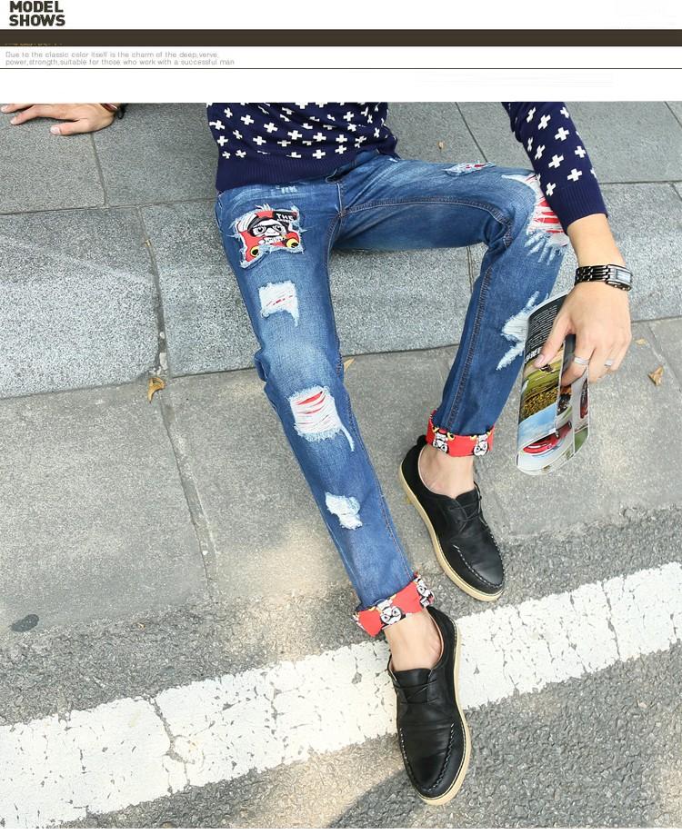 Скидки на Мода Новый популярный стиль патч нищих рваные джинсы для мужчин homme Узкие брюки мужские брюки отверстие Хлопок Синий 28-38 # TSE23