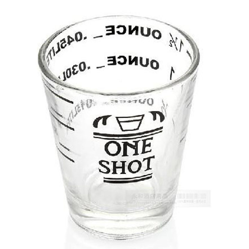 Set of 3 ounce cup glass measuring cup espresso four kinds of scale in terms of bartender flow cup coffee cup 45ml(China (Mainland))