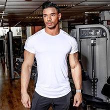 Kompresi Cepat Kering T-shirt Pria Running Olahraga Kurus Kaos Pria Gym Kebugaran Binaraga Latihan Hitam Atasan Pakaian(China)
