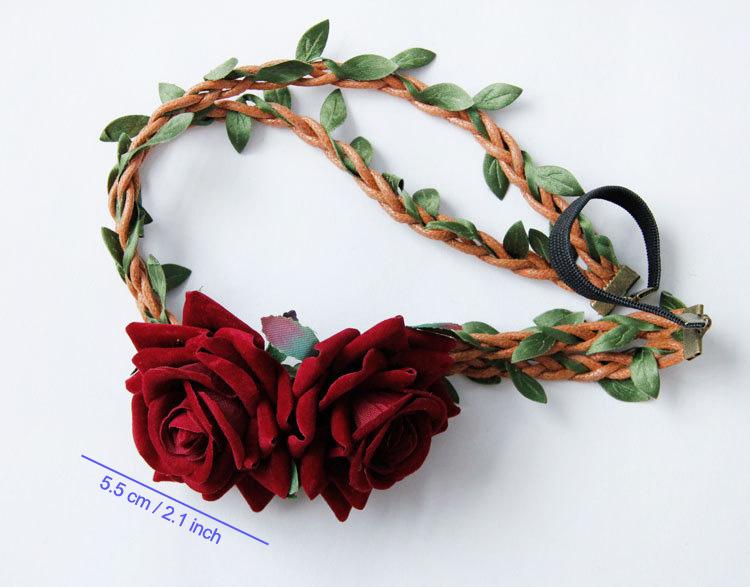 Women Headbands Boho Red Double Rose Flower Vine Crown Hair Garland Wreath Elastic Ribbon Headband Hair