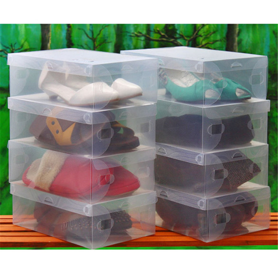 5pcs Clear Plastic Shoe Boxes Shoes Storage Organizer Box Container Boxes S Free shipping(China (Mainland))