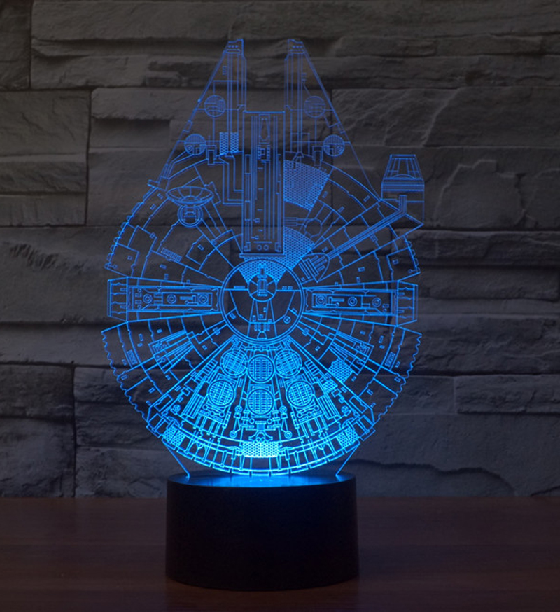 llusion Star Wars Millennium Falcon 3D LED Night Light Acrylic Colorful Gradient Table Lamp With USB Cable 2 Base Choose(China (Mainland))