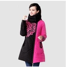 2013 fashion original national flower printing color block mother clothing plus size women cotton padded jacket M-XXL D1921