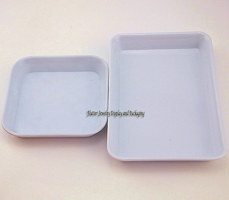 White Plastic Small Square 10x10cm Jewelry Display Tray Diy Finding Storage Case Jewellry Display Box 5pcs/lot(China (Mainland))