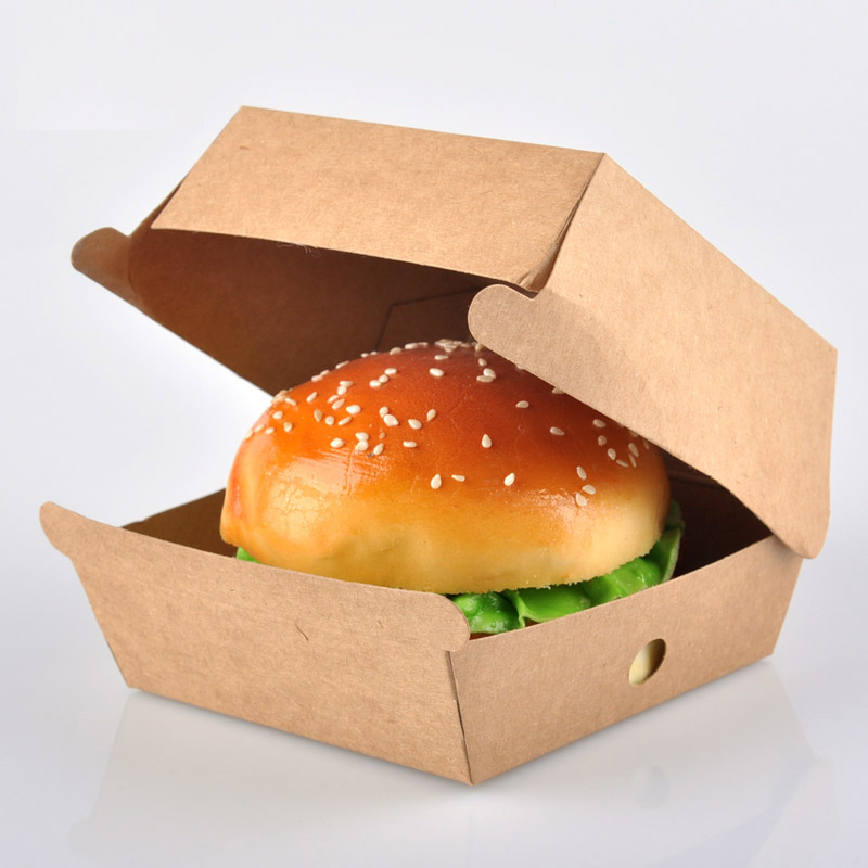 Disposable Kraft Paper Hamburger Box Eco Friendly Takeaway Lunch Box Cake Dessert Package Party Supplies 100pcs/lot SK734(China (Mainland))