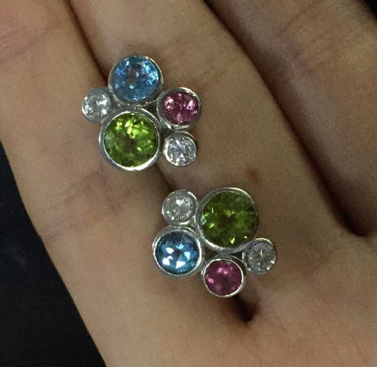 Fashion personality multicolor energy natural  tourmaline peridot stud earrings 925 sterling silver natural topaz stone earrings<br><br>Aliexpress