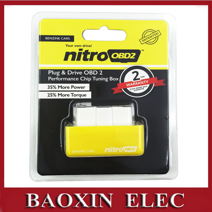 NitroOBD2 Benzine Car Chip Tuning Box Plug and Drive OBD2 Chip Tuning Box Get More Power / More Torque(China (Mainland))