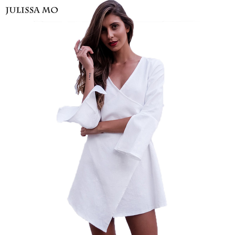 Julissa Mo Autumn Kimono Dress Sexy Deep V Neck Cotton Butterfly Sleeve White Shirt Party Wear Cute Women Dress(China (Mainland))