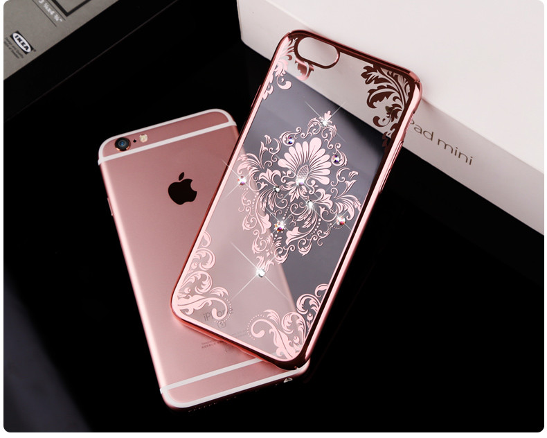 Diamond plating Floral Henna Paisley Mandala Palace Flower Necklace Phone Cases Cover For iPhone 6 6G 6S 4.7 6plus 6S plus 5.5