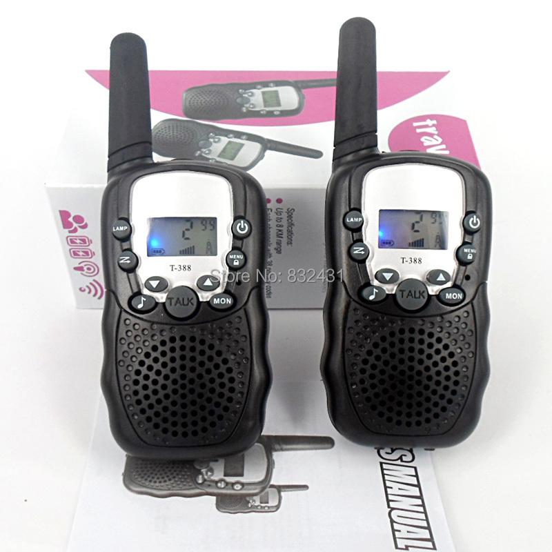 1Pair (2Pcs) 0.5W 22 Channels Monitor Function Mini Walkie Talkie Travel T-388 Two Way Radio Intercom Free Shipping Retail box