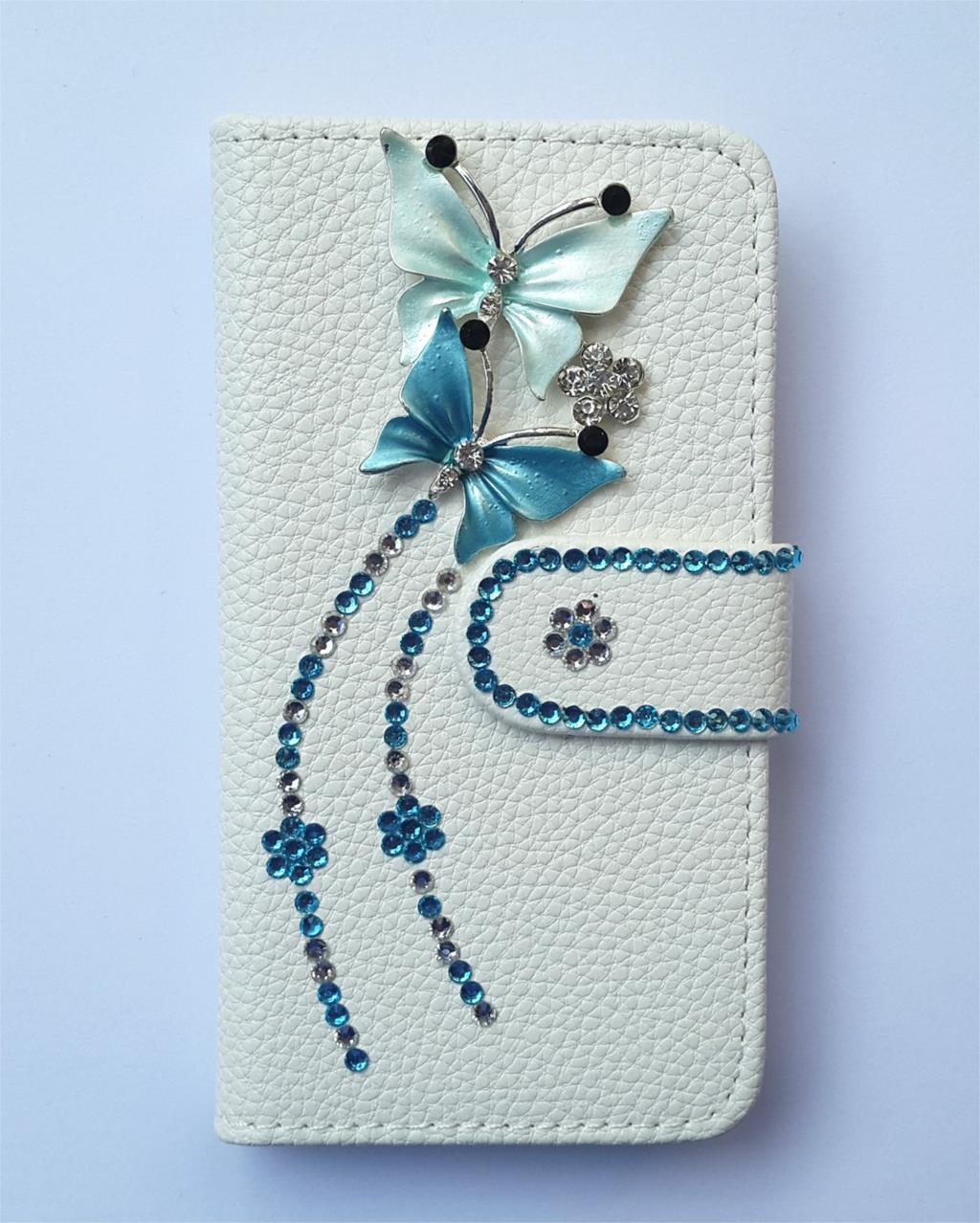 Diamond Butterfly Flip Leather Card slots wallet cover case FOR Motorola Droid Razr XT910 XT912(China (Mainland))