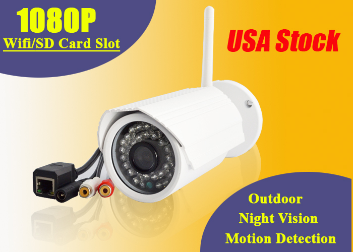 USA Stock 1080P IP Camera Outdoor Wifi Wireless SD Card Slot Infrared Night Vision Motion Detection ONVIF 2.0MP HD CCTV Security