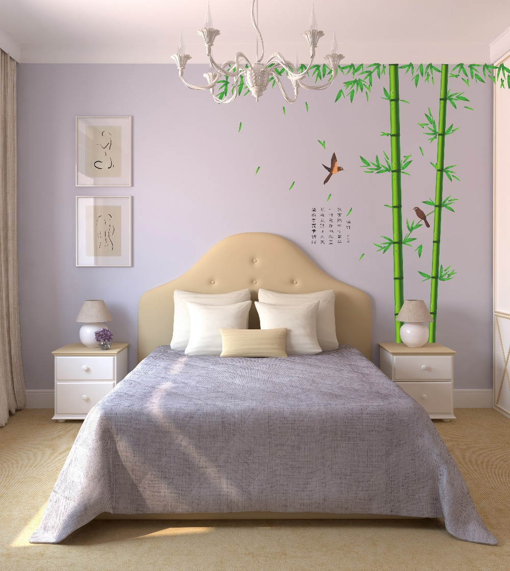 Removable Wall Stickers Bamboo Sofa Bed Bedroom Living Room Wall Decoration Backdrop Stickers