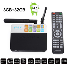 Buy 3G/32G CSA93 TV Box Amlogic S912 Octa Core ARM Cortex-A53 Android 6.0 2.4G/5.0G Dual WiFi HDMI 4K smart media player iptv box for $66.12 in AliExpress store