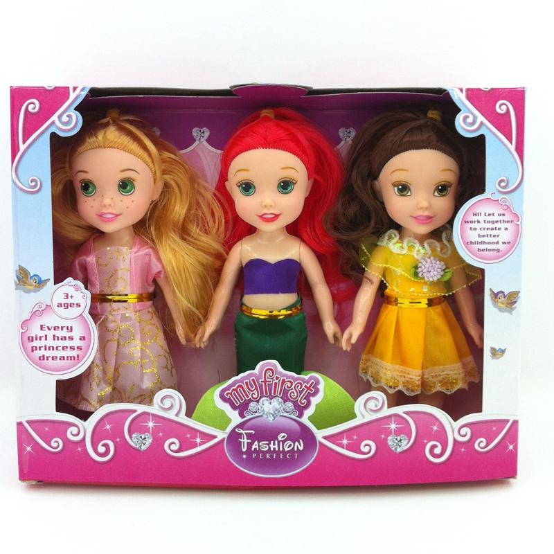 2016 Newest Girls Toys 3pcs/set 16cm Animators Sharon Dolls Princess Doll Snow White Ariel Rapunzel Cinderella Aurora Belle Doll(China (Mainland))