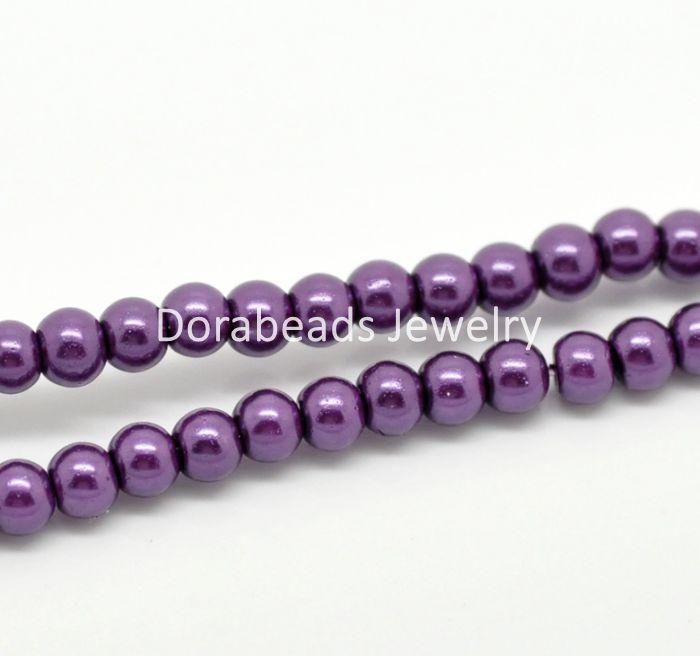 """hot- 5 Strands Dark Purple Glass Pearl Imitation Round Beads 4mm( 1/8"""") Dia. (B19348)(China (Mainland))"""
