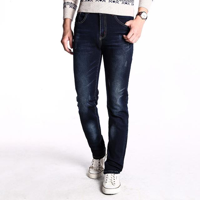 2016 джинсы полосой джинсы Высокое качество мужчины темно-синий цвет мужской свободного ...