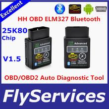 2015 Hot Auto Car ELM327 V1.5  HH Bluetooth OBD 2 OBD II Diagnostic Scan Tool elm 327 Scanner free shipping(China (Mainland))