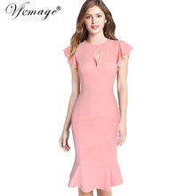Buy Vfemage Womens Sexy Keyhole Ruffles Frill Vintage Bodycon Formal Party Evening Special Occasion Mermaid Wiggle Pencil Dress 6680 for $19.49 in AliExpress store