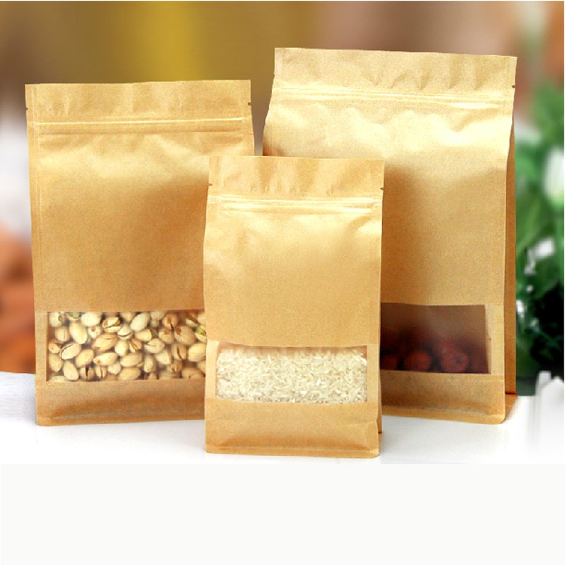 50pcs/Lot 12cm*22cm+6cm*340Mciron Kraft Paper Packaging Bags For Food(China (Mainland))