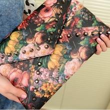 2016 Vintage National Envelope Bag Women Clutch Retro Flower Printing Female Day Clutches Women's CrossBody Bag PU Leather