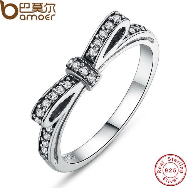 Bamoer аутентичные 100% стерлингового серебра 925 игристые бант стекируемые кольцо ...