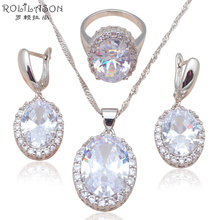Silver stamped Earring Necklace Pendant rings AAA CZ diamond Fashion Jewelry Set for party JS586(China (Mainland))