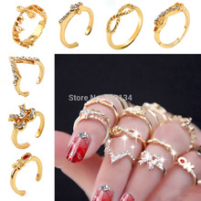 7Pcs/Set Rings Urban Gold stack Love Forever Bow Ribbon Knot Cross Top of Finger Over The Midi Tip Above Knuckle Band Ring(China (Mainland))