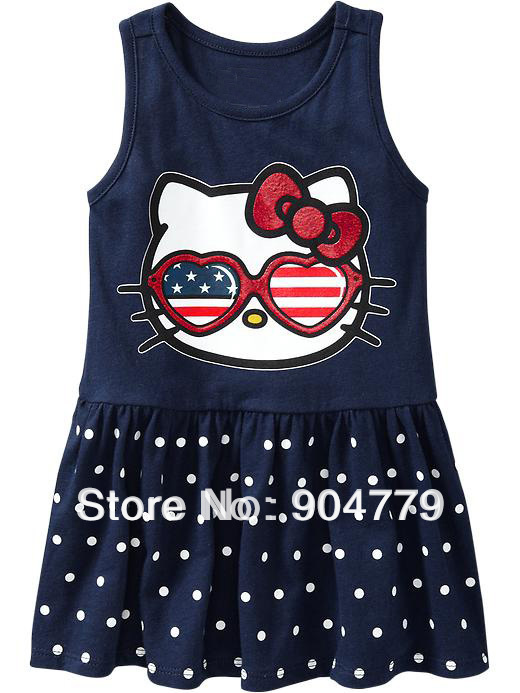 ()Summer baby girl dress hello kitty casual dresses, vest print brand, clothing - WALLE BABYWEAR store