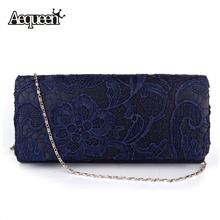 Bridal Wedding Lady Satin Evening Bags Lace Floral Day Clutches Women Messenger Shoulder Bag Pouch Purse Party Girl Handbags(China (Mainland))