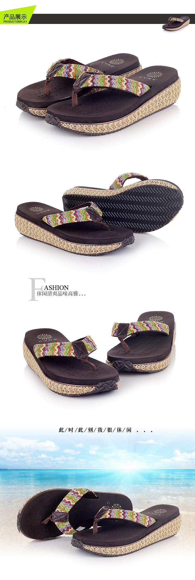 Bohemian Cane Sandals Summer Wedged Platform 2015 New Brand Gladiator Women Shoes Flip Flops