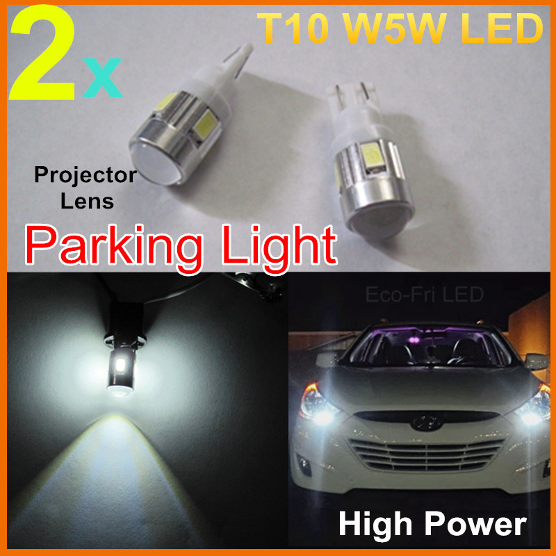 2x Super Bright High Power Xenon White Car Light Source 168 194 2825 T10 LED Car Parking Led Lights Bulbs W/ Projector Lens(China (Mainland))